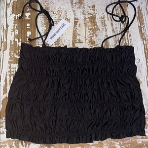 Black Silky Crop Top